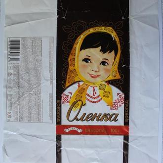 """Обёртка от шоколада """"ROSHEN Оленка 100г"""" (ПАТ """"Київська к/ф """"РОШЕН"""", Киев, Украина, 2012)"""