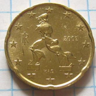 Италия_ 20 евро центов 2002 года оригинал