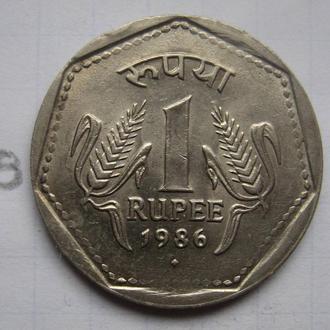 "ИНДИЯ, 1 рупия 1986 г. ""."" (гурт с точками)."