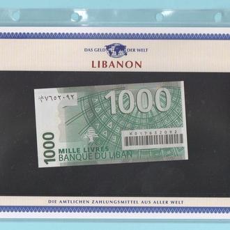 ЛИВАН банкнота 1000 Livres UNC из серии «Das Geld Der Welt» ЛІВАН + сертификат + альбомный лист