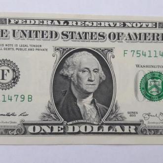 """США 1 доллар 2013 г.  Серия""""F"""""""