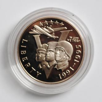 США 50 центов 1993 г., PROOF, '50 лет победы во Второй Мировой войне'
