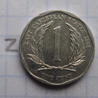 ВОСТОЧНО-КАРИБСКИЕ ГОСУДАРСТВА, 1 цент 2008 года.
