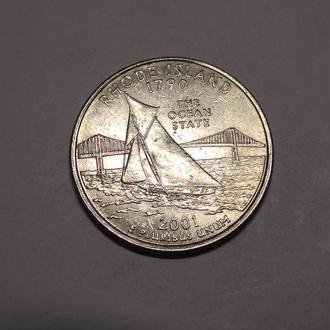 США ¼ доллара 25 центов 2001 г. Квотер штата Род-Айленд