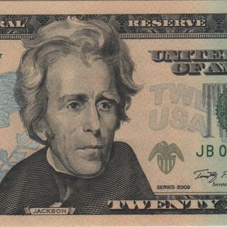 20 долларов США 2009. в UNC бона замещения из пачки