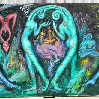 Подпись Клименко А. ,,Тайна розрушеного Андроина,, 1990. Холст, масло.