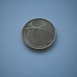 Словения монета Словении. Словенія монета Словенії. 2 толяра 1994 рік. фауна ластівка ласточка