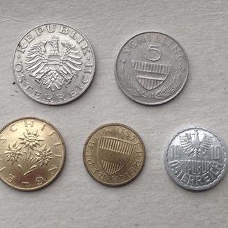 Австрия 10+5+1 шиллинг + 50+10 грошен сохран!!!