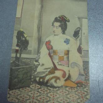 открытка япония девушка с зеркалом №1586