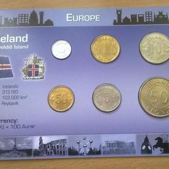 Набор монет ИСЛАНДИЯ 1971-1975 год пластик картон набір ІСЛАНДІЯ блистер запайка
