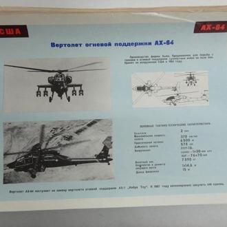 """Плакат вертолет огневой поддержки AX-64 """"Апач"""" (AH-64 """"Apache""""). Минобороны СССР"""
