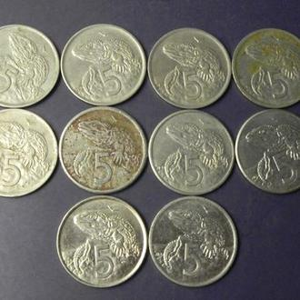 5 центів Нова Зеландія (порічниця), 10шт, всі різні