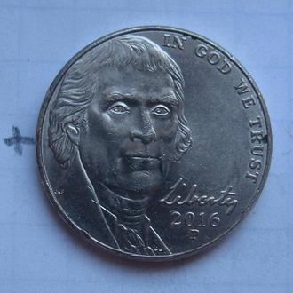 """США, 5 центов 2016 г. """"P""""."""