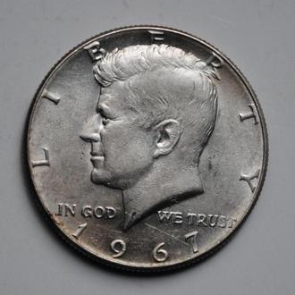США 50 центов 1967 г., XF-AU, 'Портрет президента Джона Кеннеди'