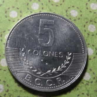 Коста Рика 2008 год монета 5 колон !