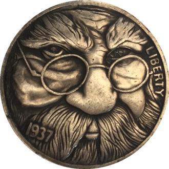 Монета Мудрец, хобо-монеты, Эксклюзив, 1937 г., 5 центов США