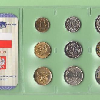 Набор монет ПОЛЬША запайка набір ПОЛЬЩА пластик из серии DAS GELD DER WELT