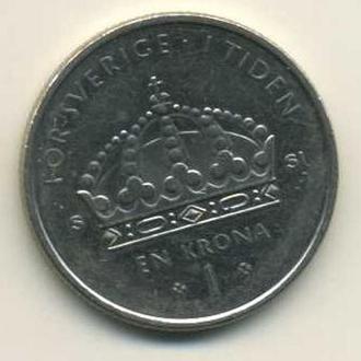 монета 1 крона 2008 Швеция