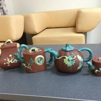 Четыре керамических чайника, Китай.