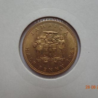 Британская Ямайка 1/2 пенни 1965 Elizabeth II СУПЕР состояние редкая