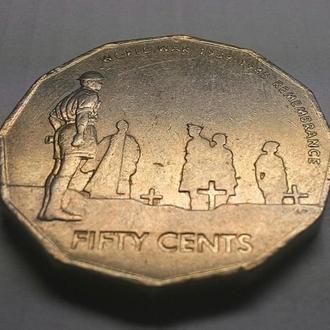 Австралия 50 центов 2005 год Никель, 31,51 мм, 15,55 г. 60- летие окончания Второй Мировой войны.