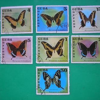 Куба 1972 Бабочки *  полн. сер