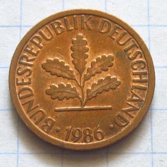 Германия_ 1 пфенниг 1986 D оригинал