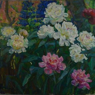 О. Соколовская ,,Полевые цветы,, 1984. Холст, масло. Размеры 70х80 см.