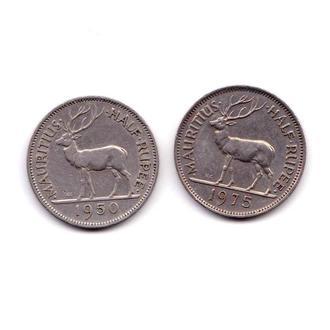 Мавритания 1975 и 1950  г - 1/2 рупии  - 2 скана - фауна - 2е монеты
