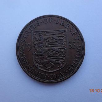 """Джерси 1/12 шиллинга 1935 George V """"Shield"""" (третий тип) отличное состояние очень редкая"""
