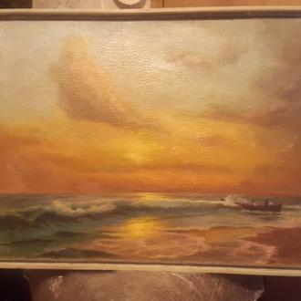 Большая старинная картина Морской пейзаж с подписью автора