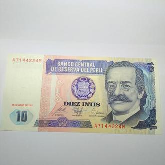 10 интис, Перу, 1987, Пресс, UNC.