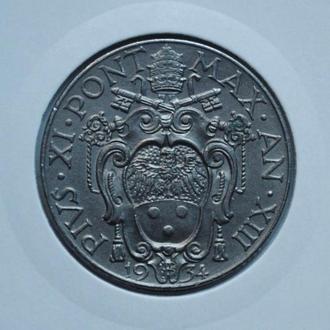 Ватикан 2 лиры 1934 г. UNC, 'Папа Пий XI (1929 - 1938)'