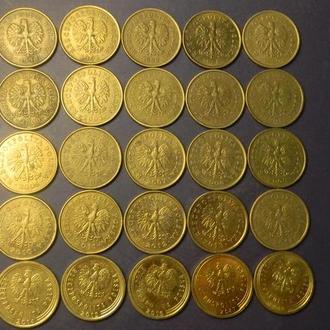 5 грошей Польща (порічниця) 25шт, всі різні
