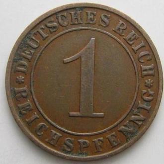 Германия 1 рейхспфенниг 1927 год (E) Редкая!!