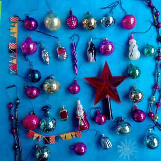 Новогодние елочные маленькие игрушки для маленькой-елки  36 шт