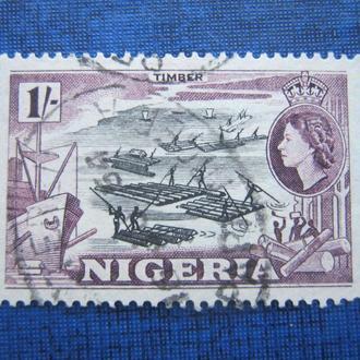 Марка Нигерия 1953 корабль плоті река 1 шиллинг гаш