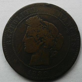 Франция 10 сантимов 1880 год