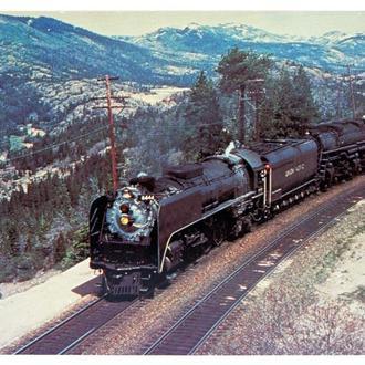 Открытка почтовая карточка Локомотив Union Pacific 844 1960-е США Fv8.4