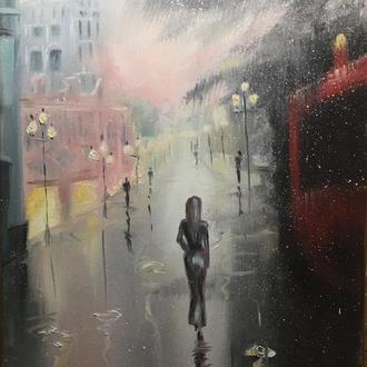 Город. Дождь. Париж. фонари. Городской пейзаж.