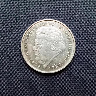 Германия 2 марки 1992 г. (А) Франц Штраусс
