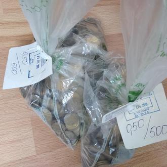 50 копеек Украина, монеты, мелочь, 2 банковских мешка 1000 гривен 8,4 кг