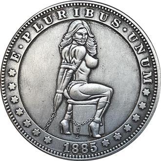 Dead coins, 1 доллар 1885, Экзонумия, Монета с Черепом, диаметр 40 мм тип - 84