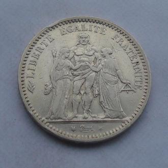 1873 г - 5 франков Франции,Геркулес,серебро