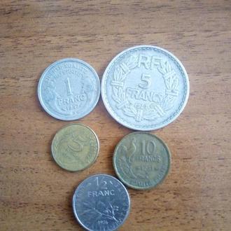 монеты Франции 5шт. до ЕС