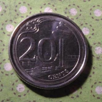 Сингапур 2006 год монета 20 центов !