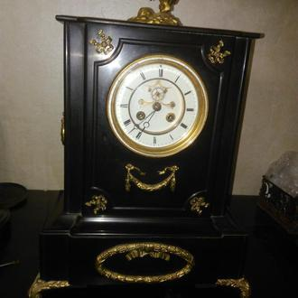 Германия, 1880-90 гг., Каминные часы, бронза, черный мрамор, оригинал