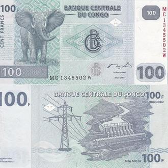 Congo DR Конго - 100 Francs 31 .07 .2007 Pick 98a UNC JavirNV