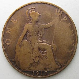 Великобритания 1 пенни 1917 год Георг V
