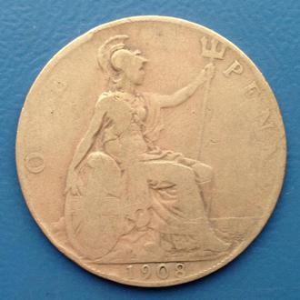 Великобритания, 1 пенни 1908 год